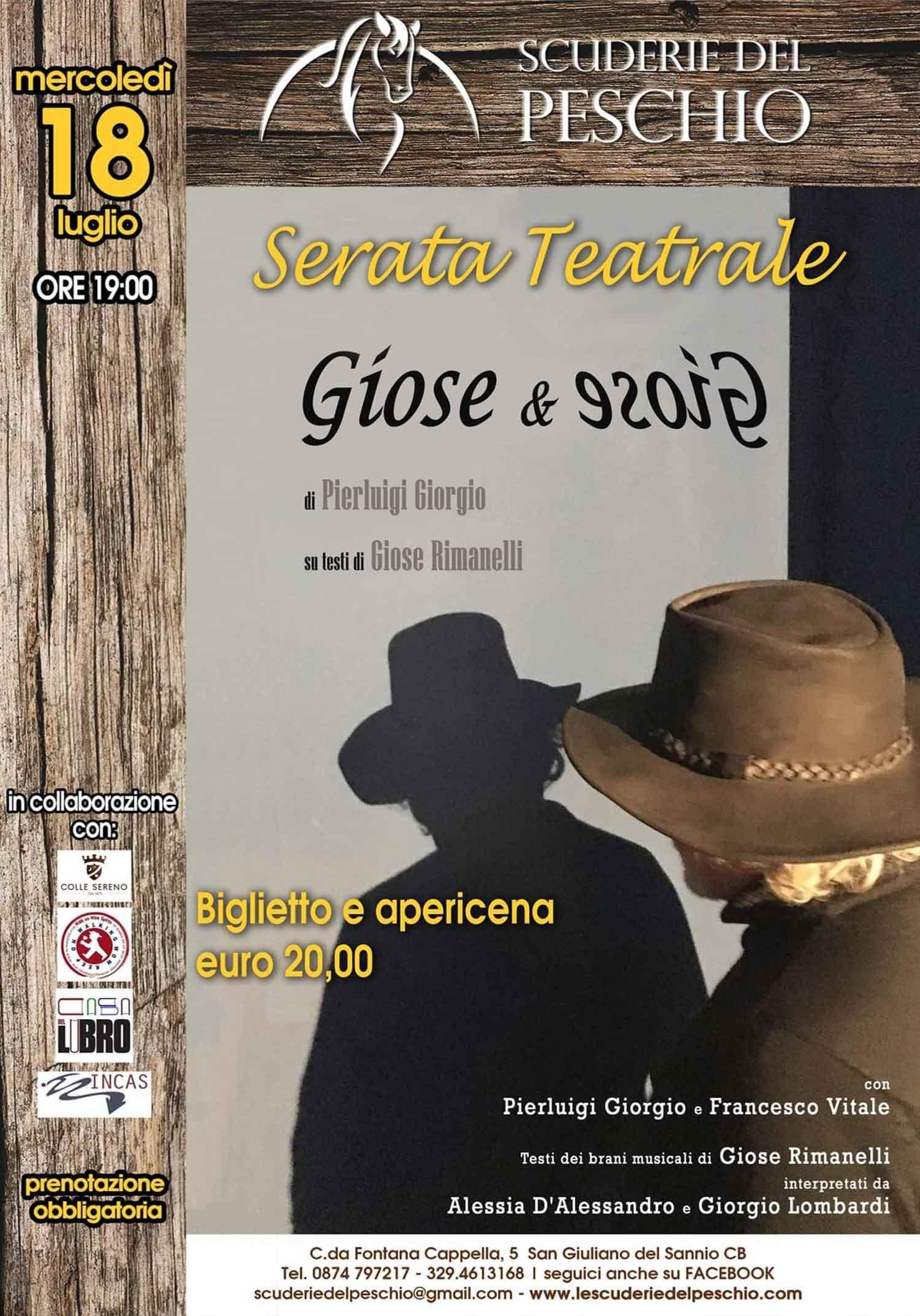 """""""Giose&Giose"""": spettacolo teatrale in memoria dello scrittore italo-americano Giose Rimanelli"""