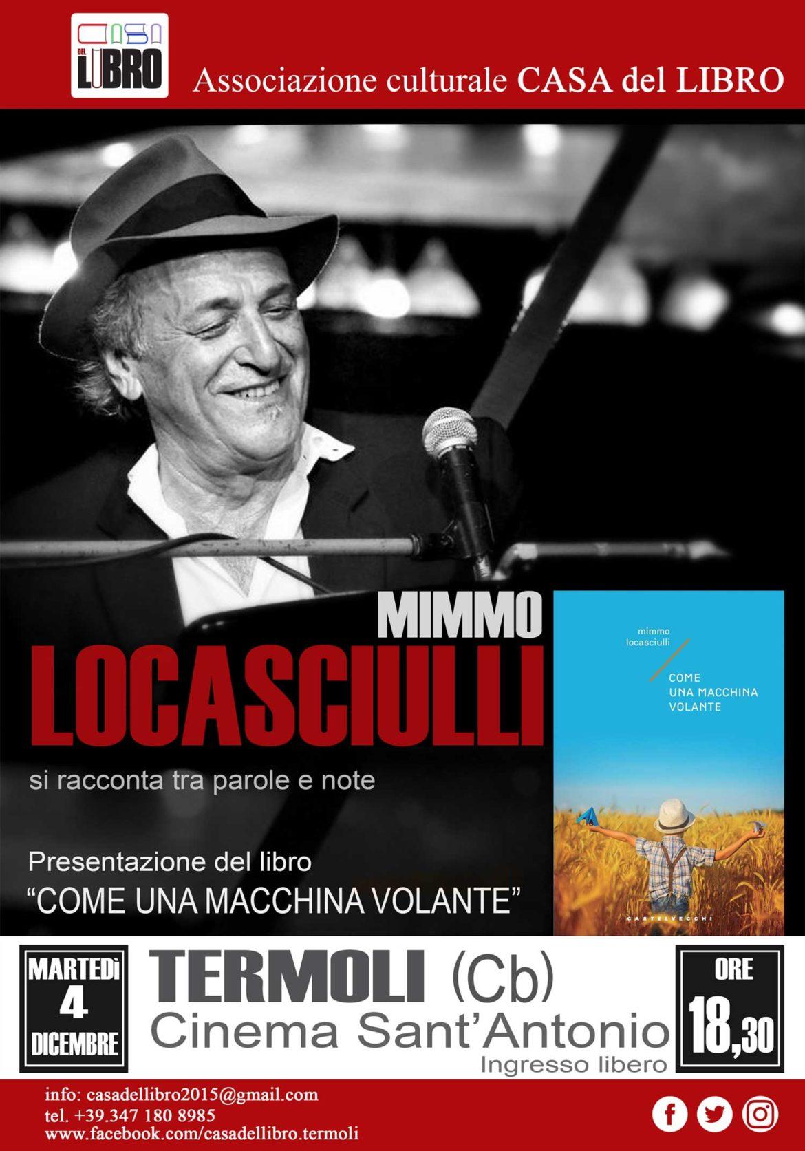 """Il cantautore Mimmo Locasciulli ospite della 'Casa del Libro' presenta il libro """"Come una macchina volante"""""""