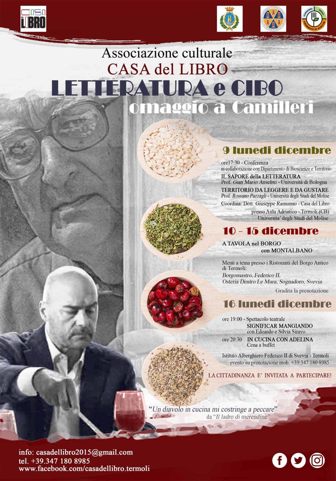 """A Termoli una settimana di """"Letteratura e Cibo"""": omaggio a Camilleri dal 9 al 16 dicembre 2019"""